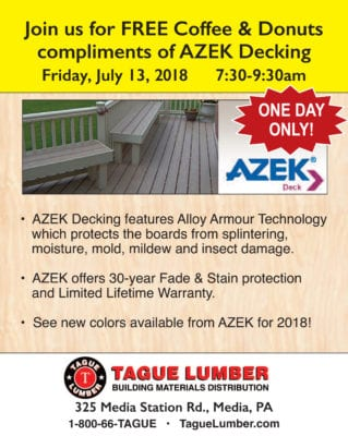 FREE Coffee & Donuts with AZEK Decking at Tague/Media