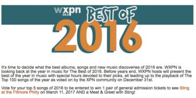 """The Best Songs of 2016"" WXPN Radio (88.5 FM) – Dec. 31st"