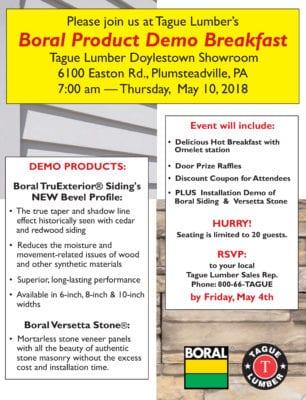 Boral & Versetta Stone FREE Product Demo & HOT Breakfast at Tague Doylestown Showroom