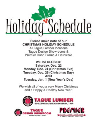 2018 Christmas & New Year's Holiday Schedule