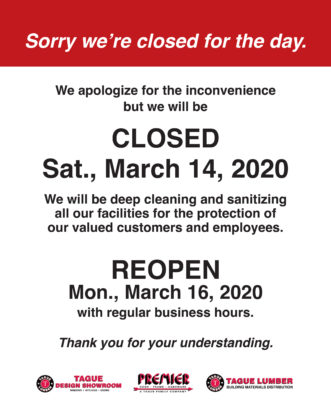 All locations closed for cleaning — Sat., March 14