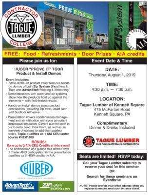 Tague Lumber Kennett Sq—AdvanTech/ZIP Contractor College(plus 2 AIA CEUs)