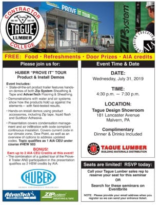 Tague Malvern Showroom—AdvanTech/ZIP Contractor College(plus 2 AIA CEUs)