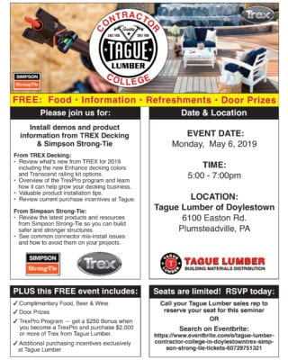 Contractor College FREE Decking Seminar at Tague of Doylestown
