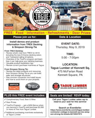 Contractor College FREE Decking Seminar at Tague of Kennett Square