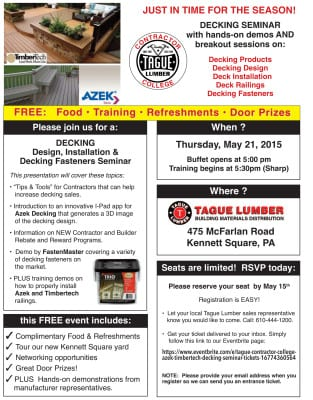 Contractor College #4 – DECKING Seminar at Kennett Square location