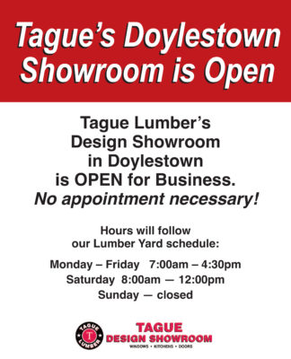 Tague Lumber's Design Showrooms are OPEN