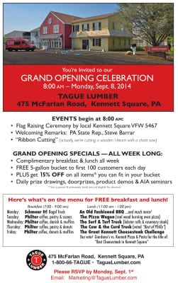 GRAND OPENING Events at Tague Kennett Square
