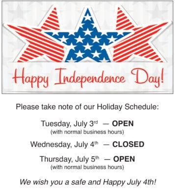 July 4th Holiday Schedule