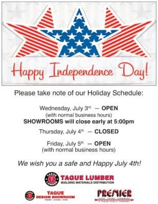 July 4th Schedule