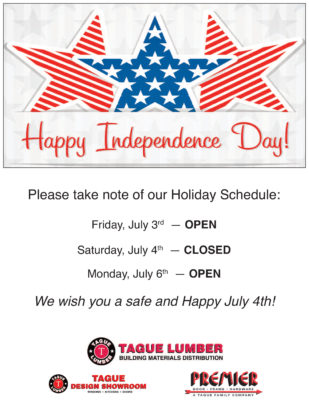 4th of July — Holiday Schedule
