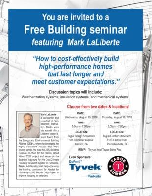 Free Building Seminar with Mark LaLiberte at Tague of Doylestown