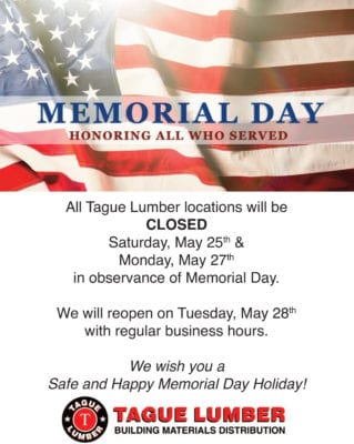Memorial Day Schedule – Closed Sat., May 25 & Mon., May 27