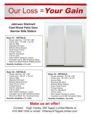 Our Loss = Your Gain!  Jeld-Wen Patio Doors on SALE!