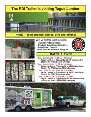 RDI Trailer Visits Tague of Phila. (8-10 AM) & Tague of Doylestown (12-2 PM)