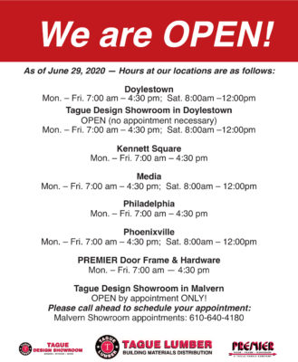 Business Hours at our Locations
