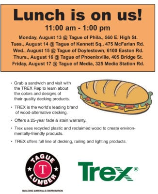 Lunch is on us TODAY (Aug. 17) at Tague Lumber of Media