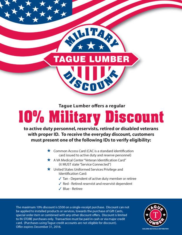 Tague Lumber's Military Discount Program