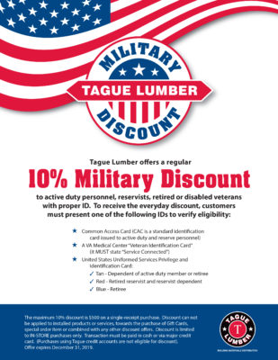 Tague Lumber's Military Discount Program