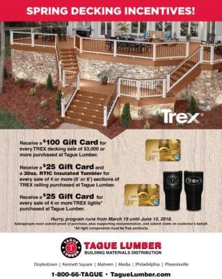 TREX Decking – Spring Incentive Rebates ONLY at Tague Lumber
