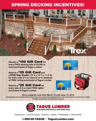 TREX Decking Spring Incentives ONLY at Tague Lumber until June 15th