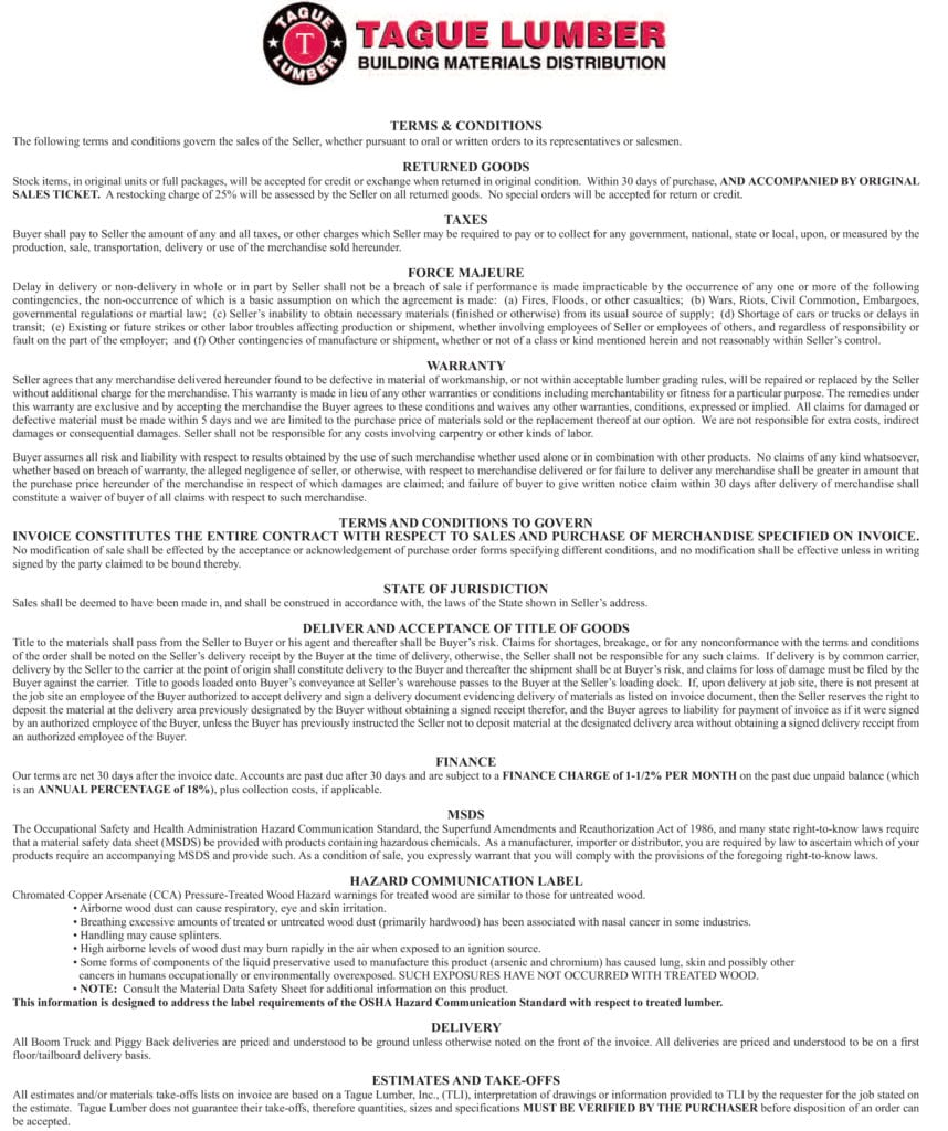 Tague Lumber Inc., Terms & Conditions of Sales
