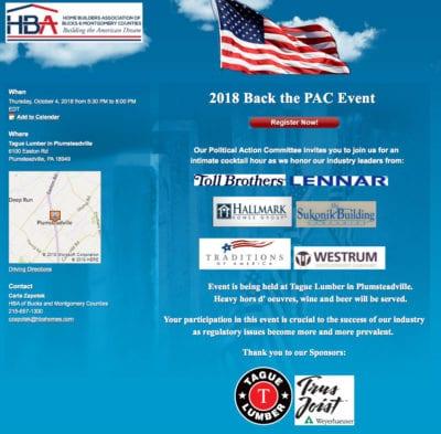 HBA of Bucks/Mont PAC event