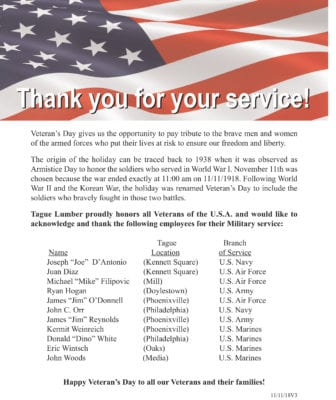 Happy Veteran's Day —Never Forget!