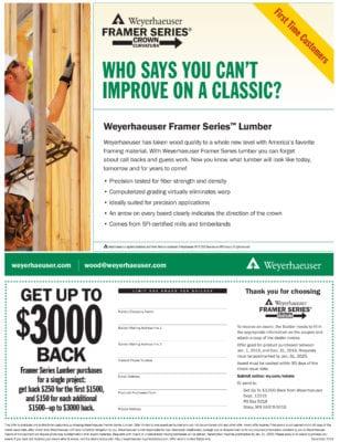 Weyerhaeuser Framer Lumber REBATE! Earn up to $3,000