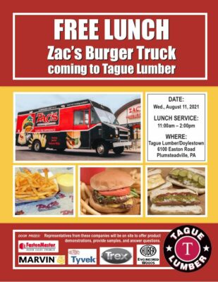 FREE Lunch from Zac's Burger Truck at Tague Lumber of Doylestown