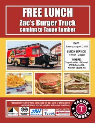 FREE Lunch from Zac's Burger Truck at Tague Lumber of Kennett Sq.
