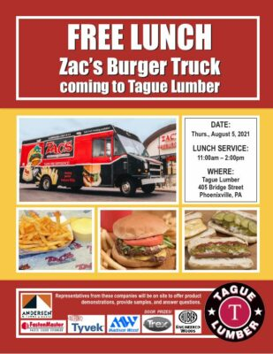 FREE Lunch from Zac's Burger Truck at Tague Lumber of Phoenixville
