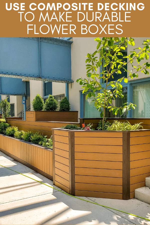 Use composite decking to make durable planter boxes alongside a deck or walkway. These flower boxes give the space a polished look made with low maintenance, long-lasting material.