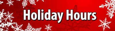 Christmas Holiday Schedule – Closed Christmas Eve